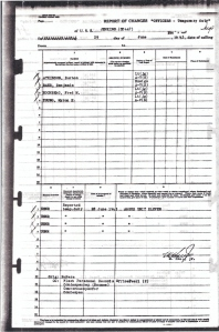 Muster Roll from the USS Jenkins dated 29 June 1943 showing Argus 11