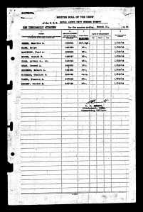 Unit #20 Muster Roll showing USMC personnel as
