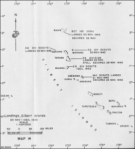 Map of the Gilbert Islands showing the location of Apamama (Abemama)